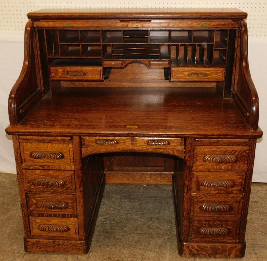 American oak S-roll top desk w carved handles - 2