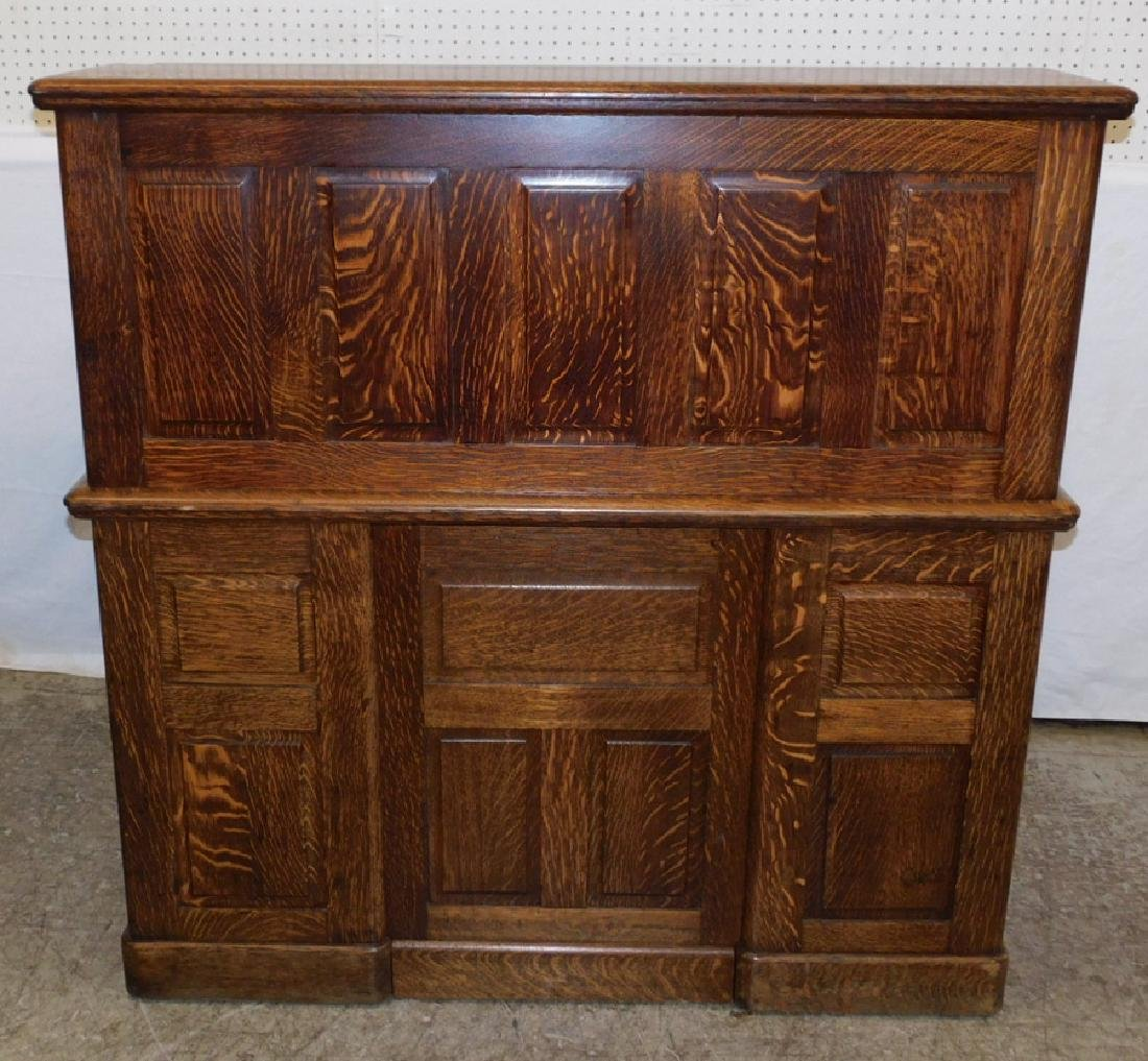 American oak S-roll top desk w carved handles - 3