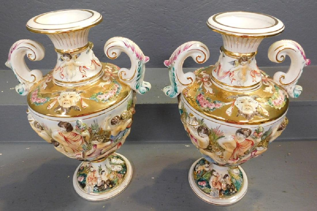 "Pair of Italian Capodimonte vases. 17"" tall. - 2"