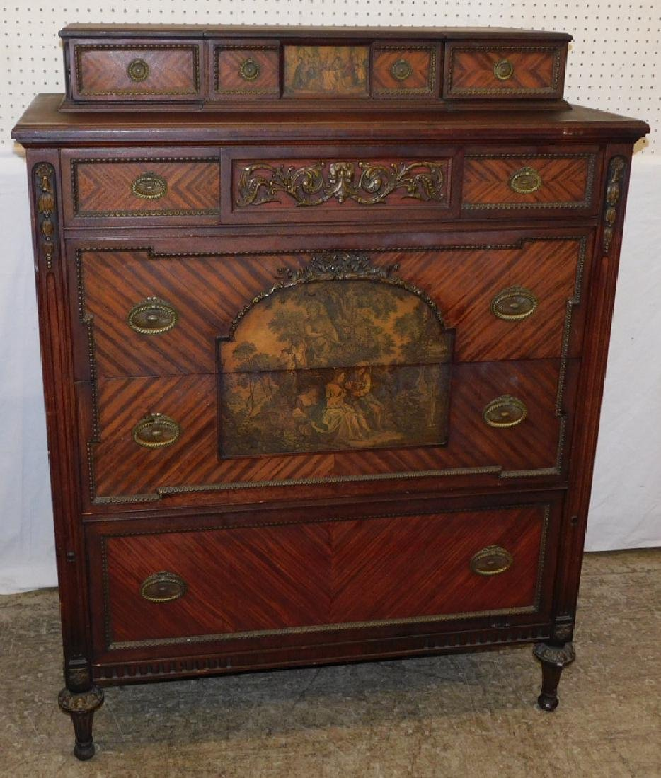 Adams style paint decorated high chest.