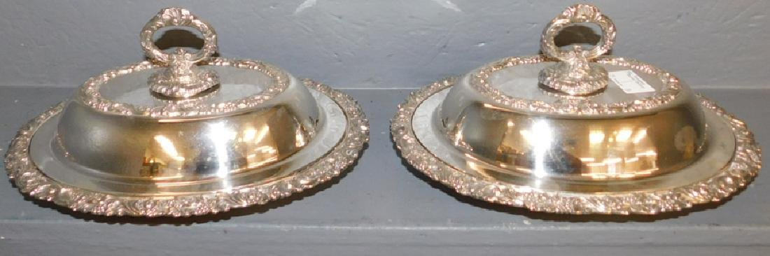 2 ornate oval SP covered dishes w/ detachable handles