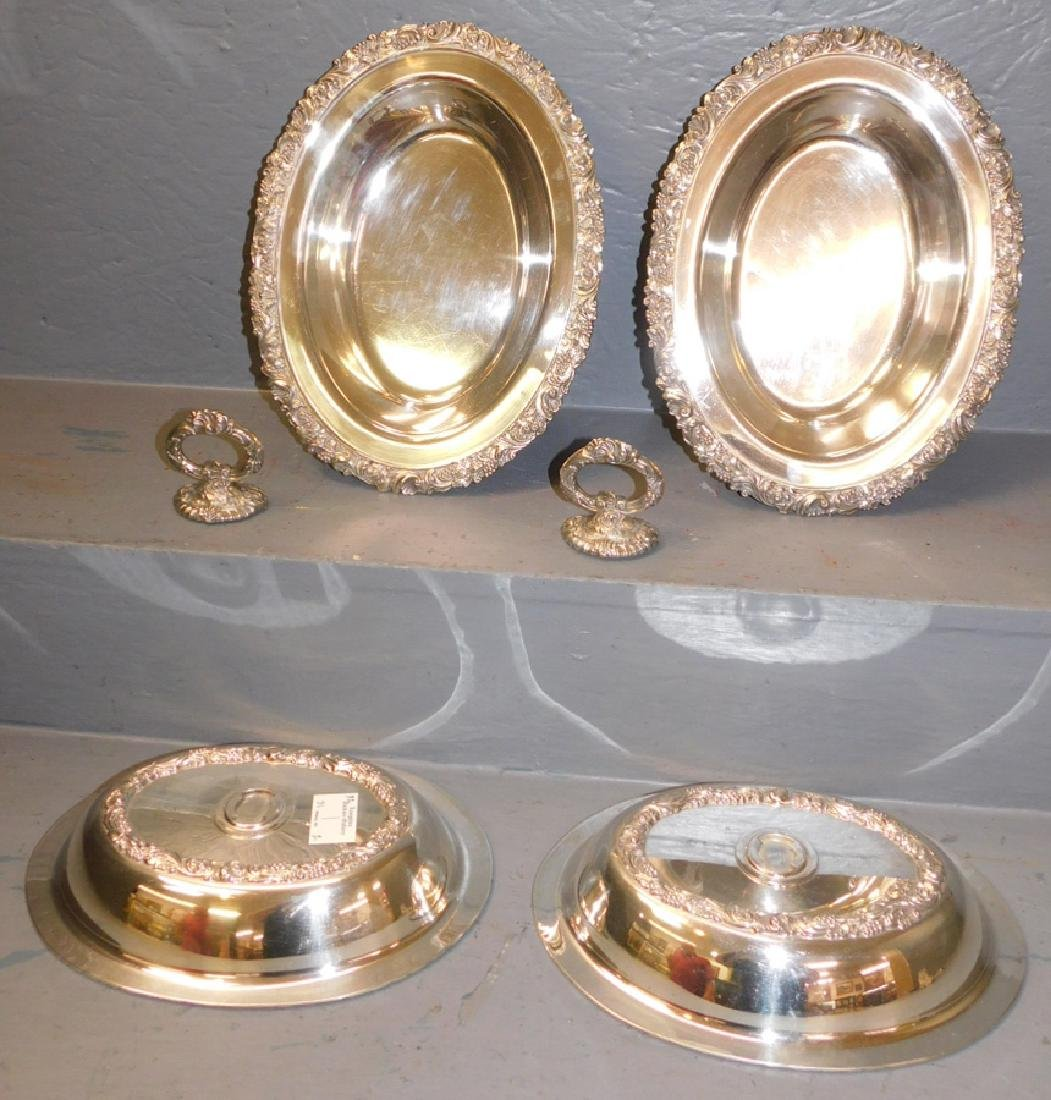 2 ornate oval SP covered dishes w/ detachable handles - 2