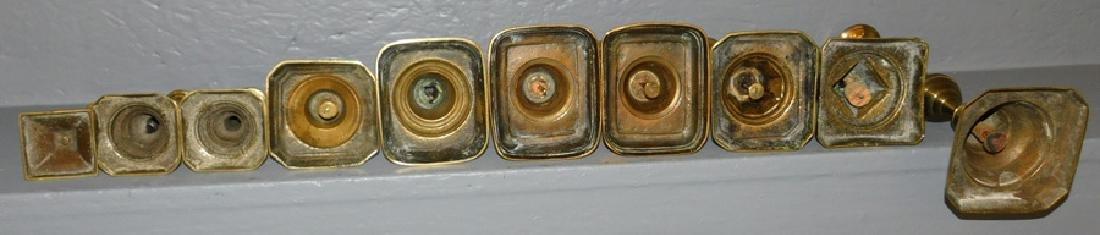 """10 antique brass candlesticks. To 11"""" tall. - 2"""