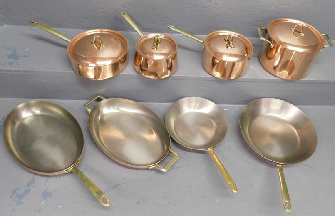4 Paul Revere copper cooking pots, 4 copper pans
