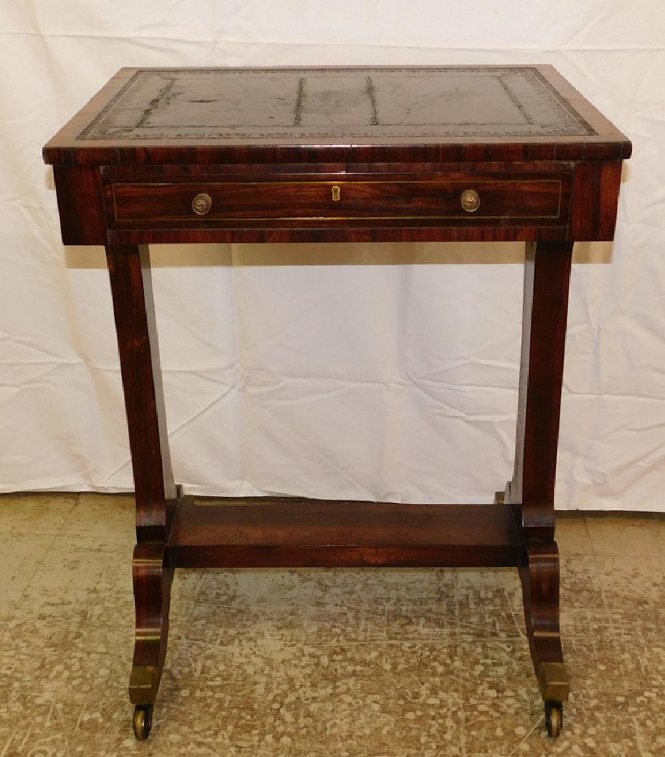 Rosewood tooled leather top table