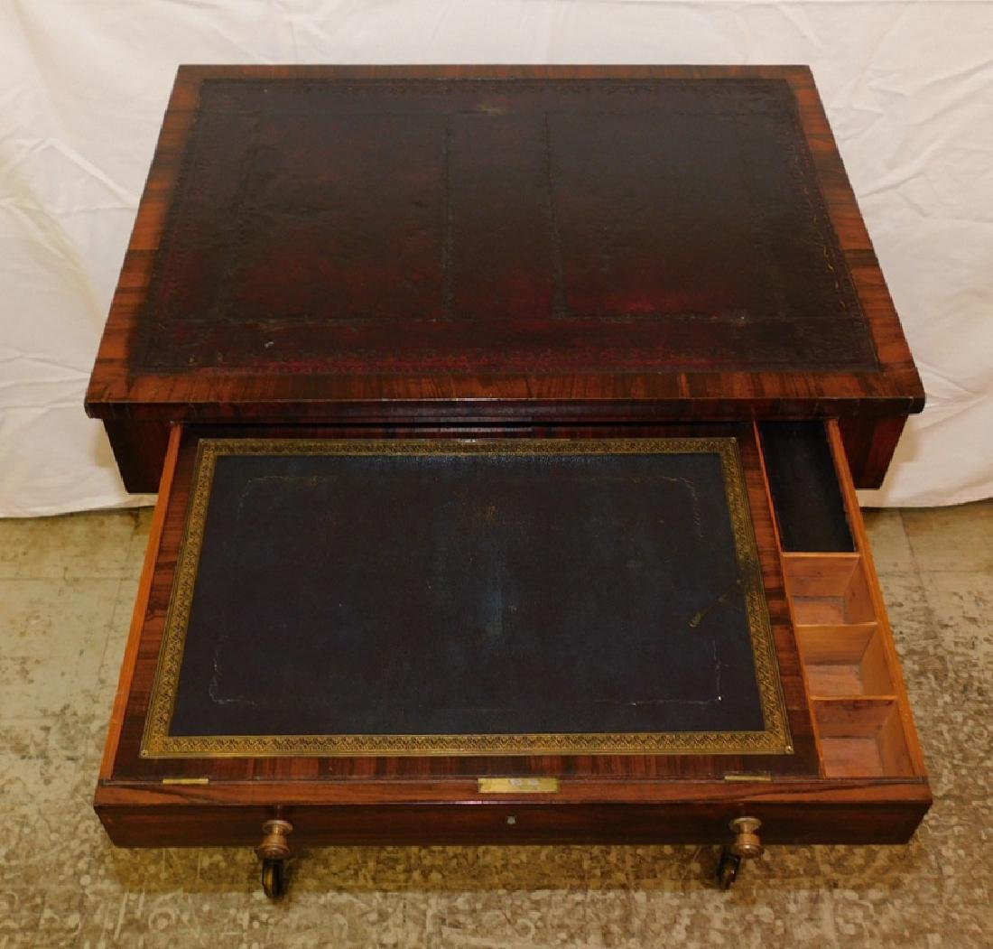 Rosewood tooled leather top table - 3