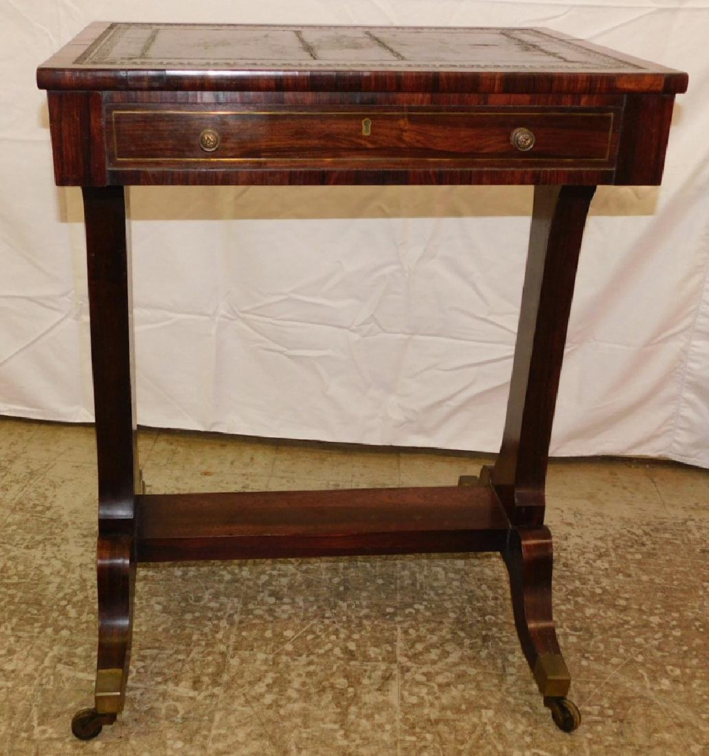 Rosewood tooled leather top table - 4