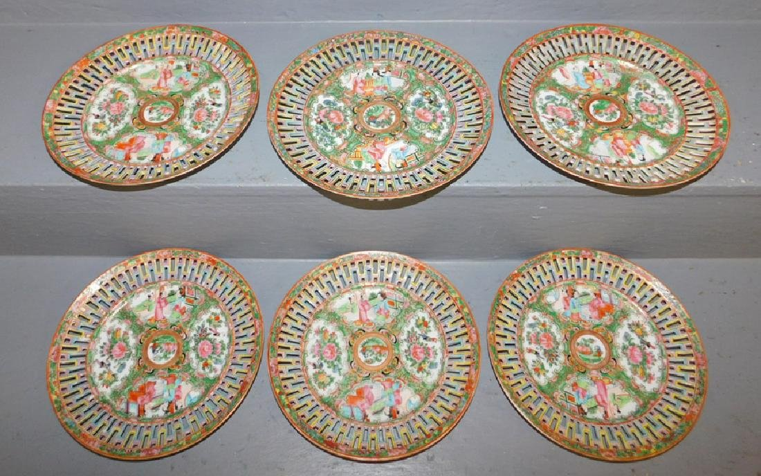 6 19th century Rose Medallion reticulated plates.