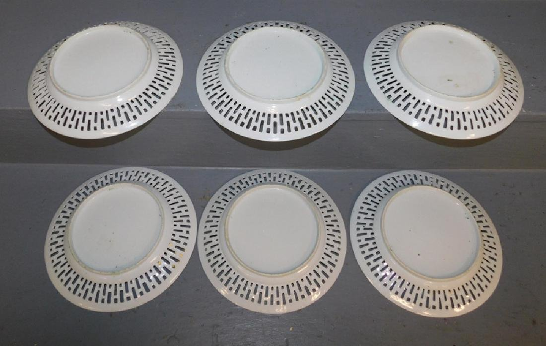 6 19th century Rose Medallion reticulated plates. - 2