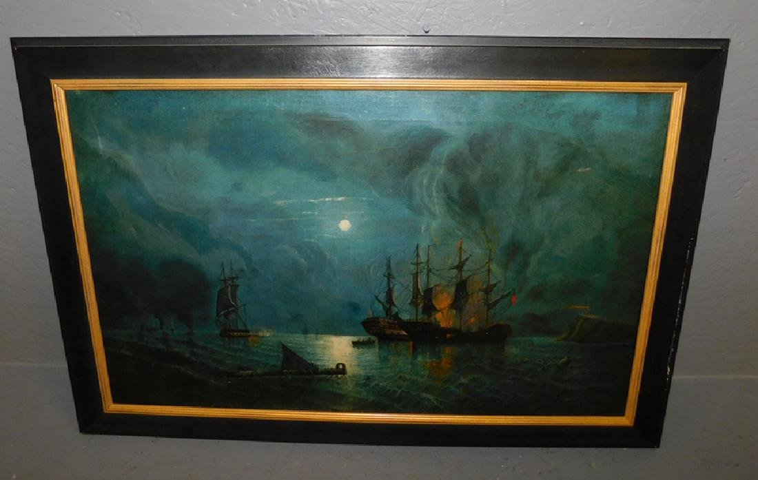 19th C oil on canvas nighttime navel engagement.