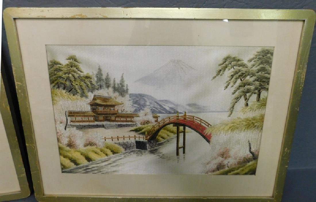 Pair of Japanese embroidered Pagoda scenes. - 2