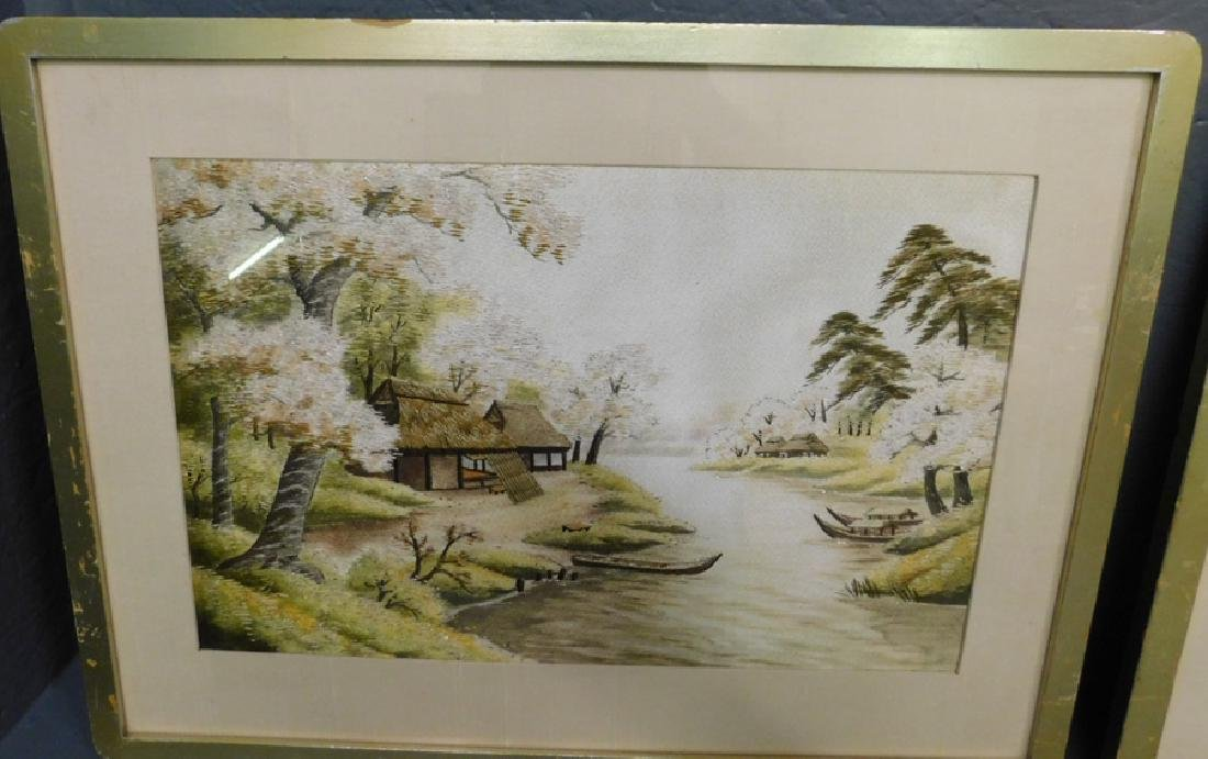 Pair of Japanese embroidered Pagoda scenes. - 3
