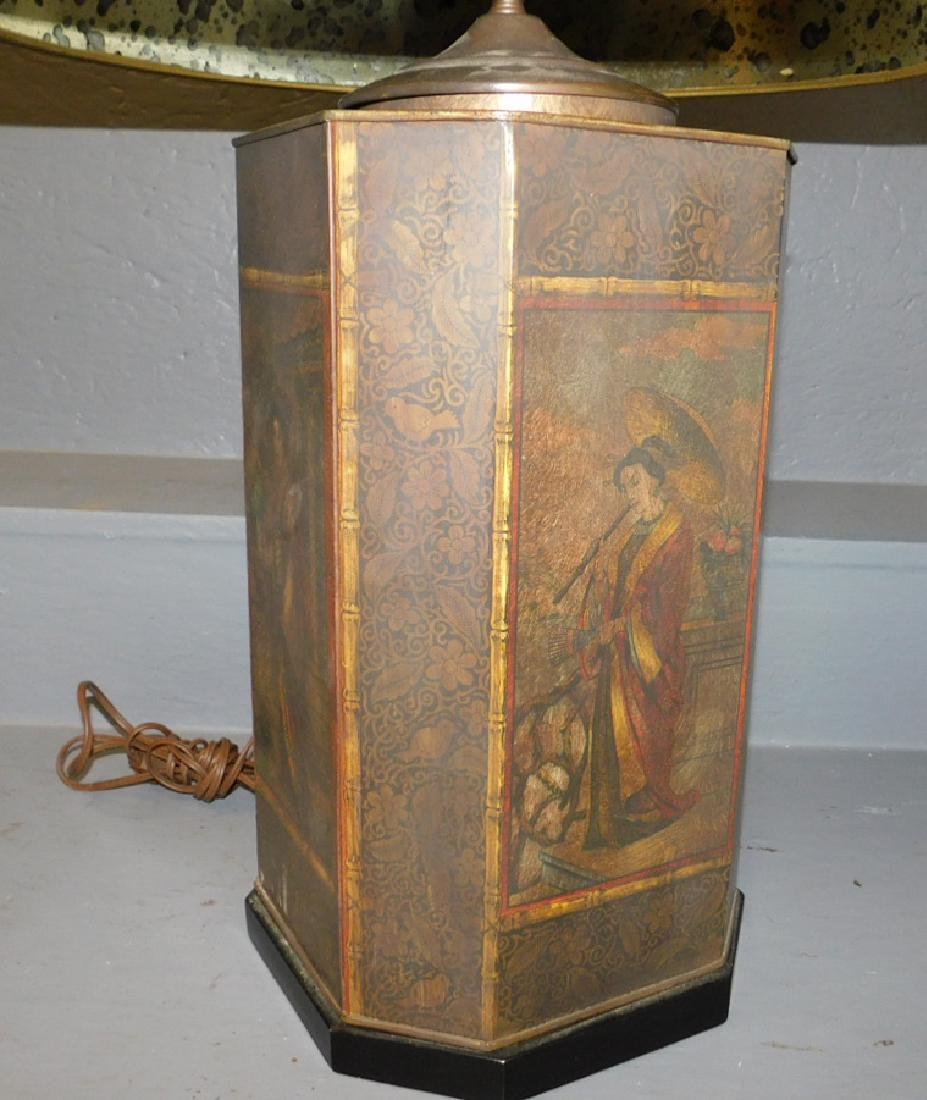 "Early Tole canister lamp. 30"" tall. - 2"