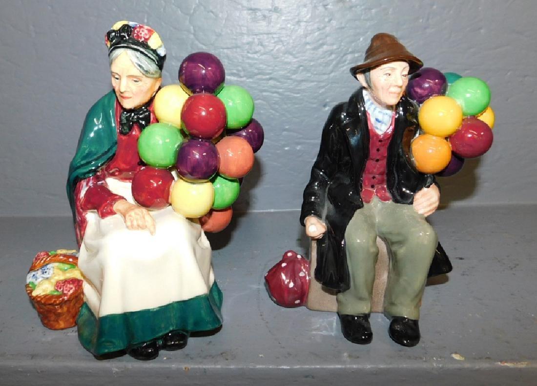 "Pair of Royal Doulton balloon seller figures. 7"" tall."