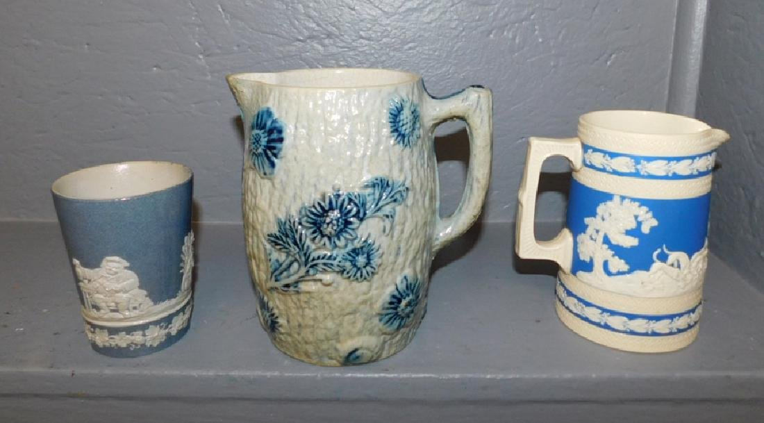 Jasperware pitcher & glass & salt glazed pitcher.