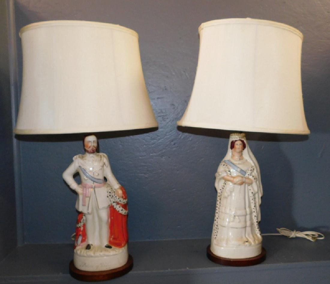 19th c Staffordshire Victoria and Albert figural lamps.