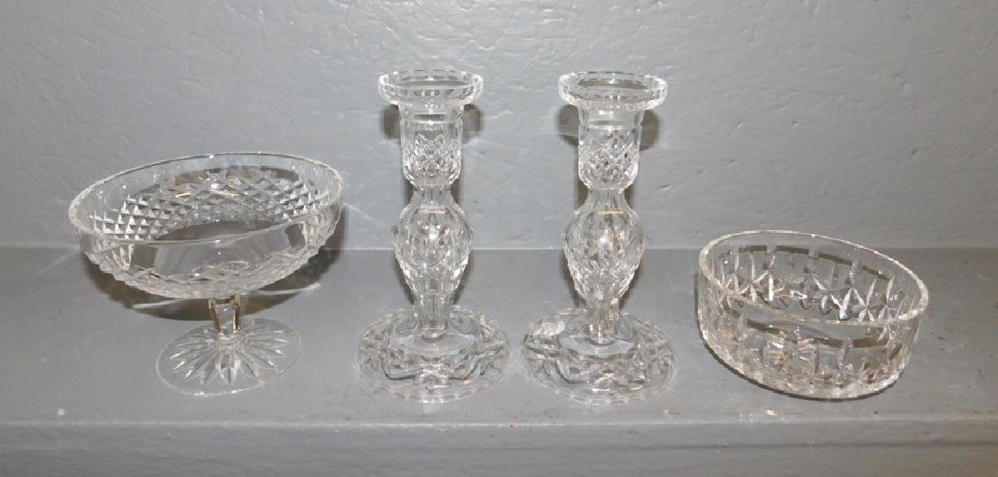 Pair of Waterford candlesticks, compote and bowl.