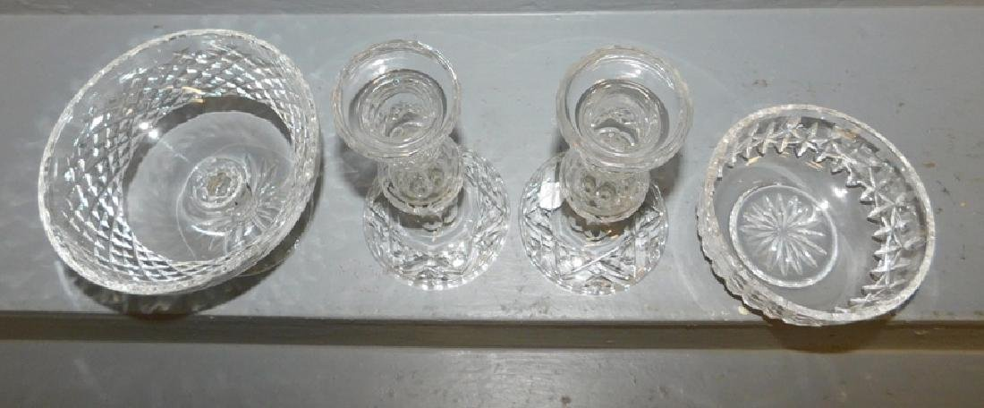 Pair of Waterford candlesticks, compote and bowl. - 2