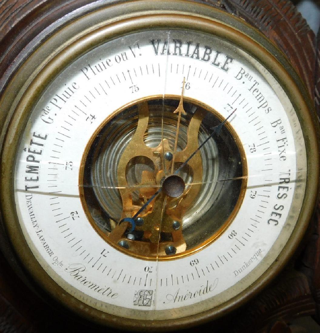 "Carved Back Forest Walnut barometer. 29"" tall. - 4"