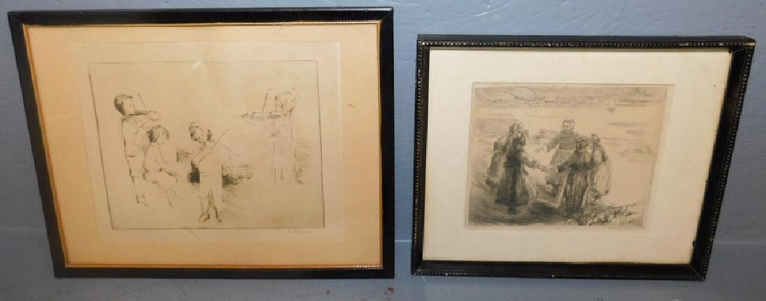2 signed pen and ink drawings, Andi Artigne, 1914.