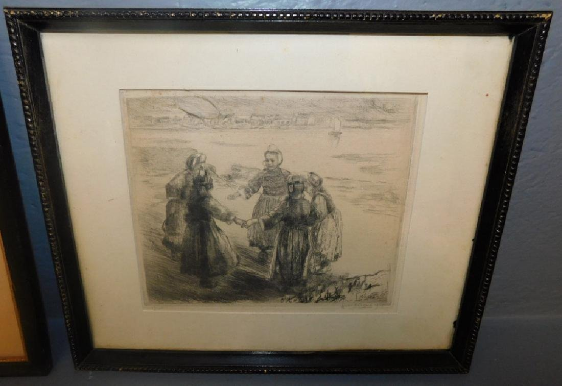 2 signed pen and ink drawings, Andi Artigne, 1914. - 2