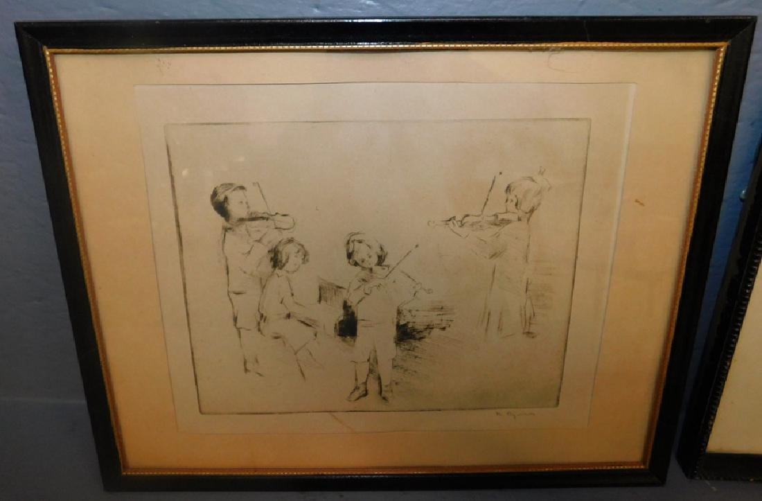 2 signed pen and ink drawings, Andi Artigne, 1914. - 3