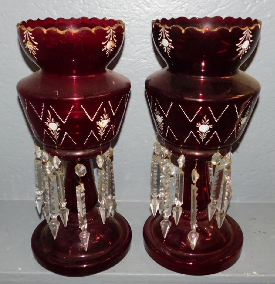 "Pair of Large ruby glass lusters. 16"" tall."