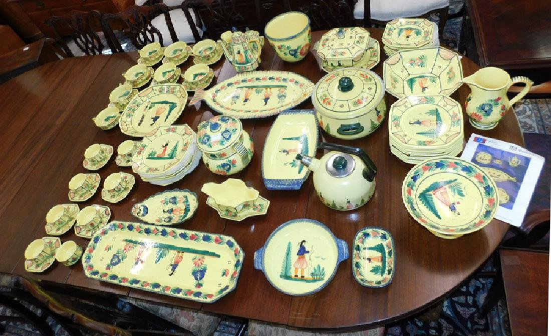 Approx. 75 pcs. Yellow Soliel Quimper pottery.