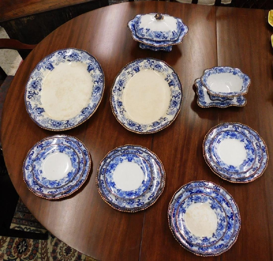 17 pc. Vict flow blue Doulton type partial dinner set.