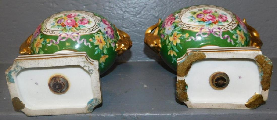 Pair of unsigned Sevres rams head urns- - 3