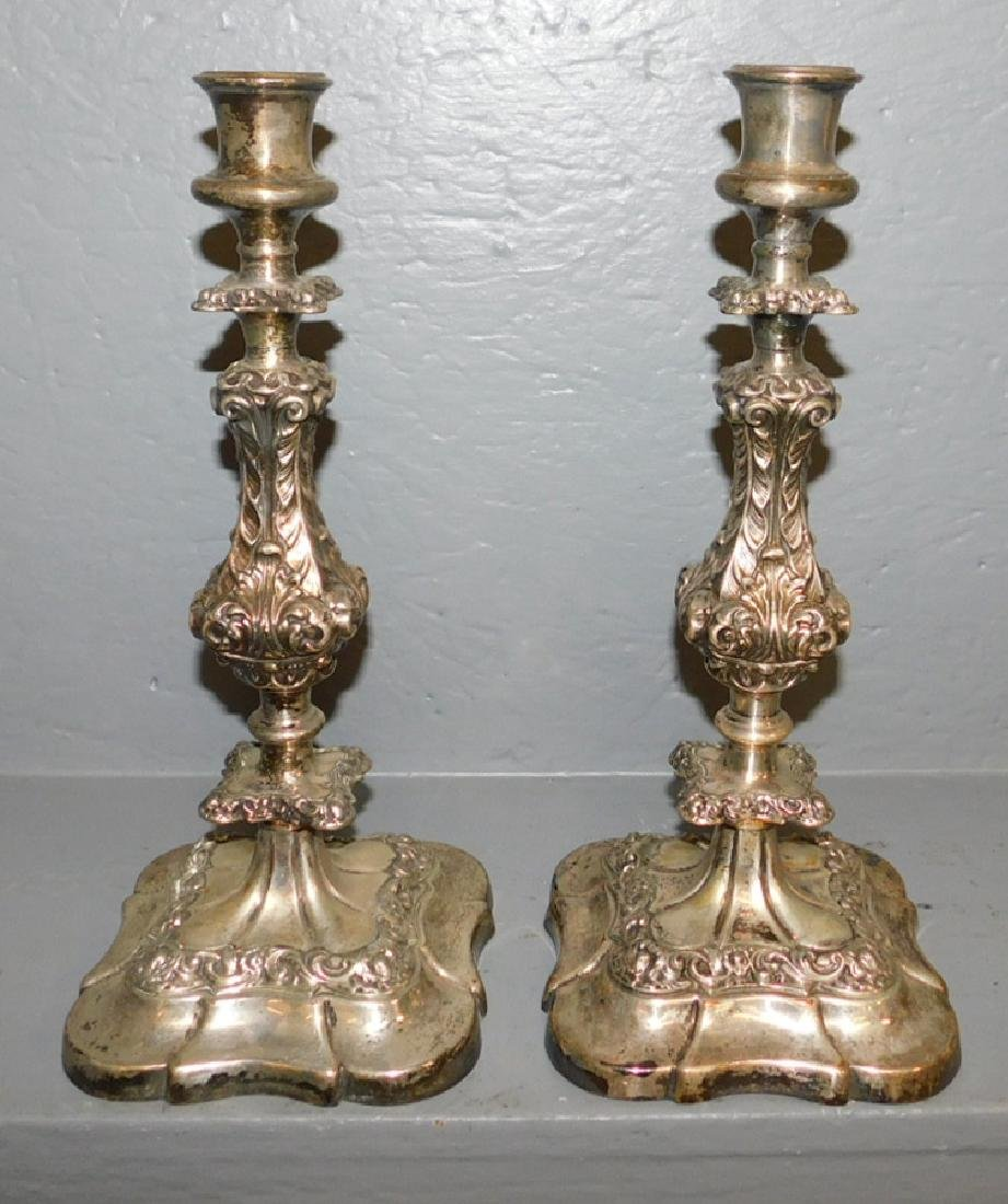 Pair of early 19th century Sheffield candlesticks.