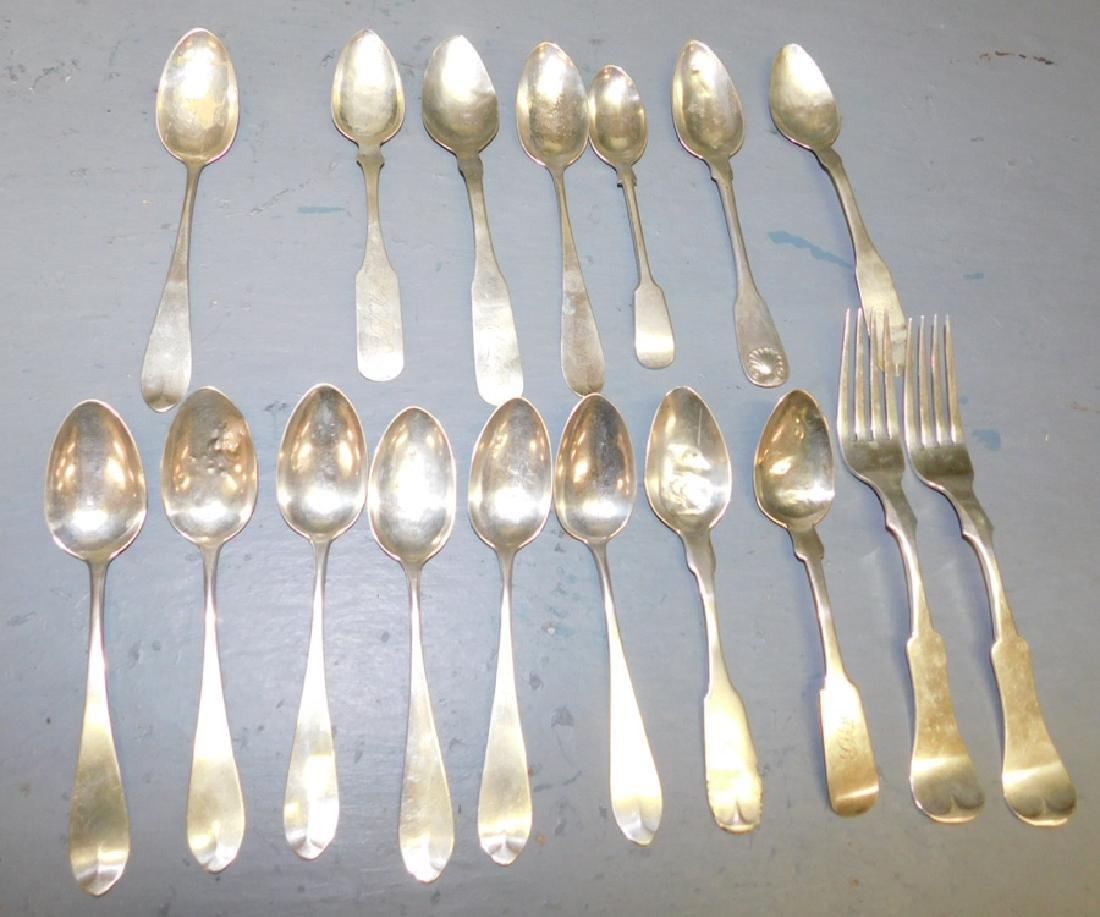 17 pcs. coin silver flatware. 10 t.o.