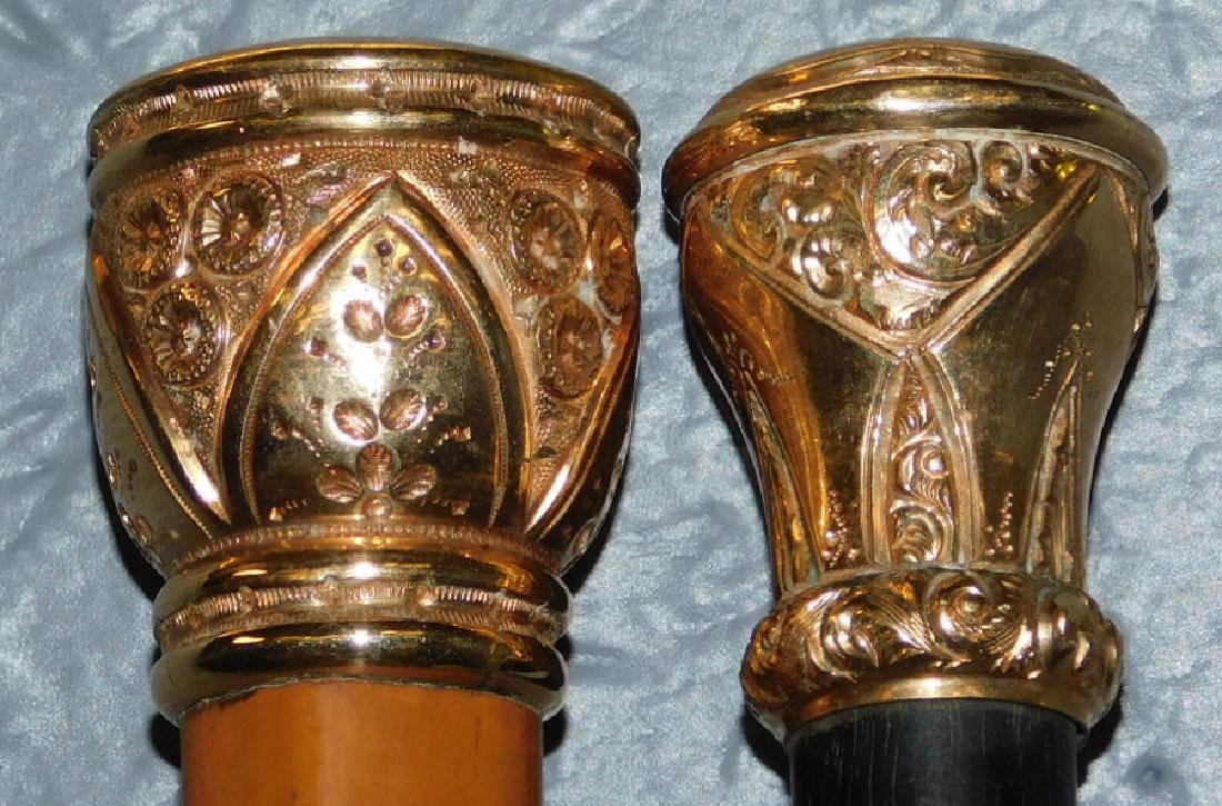 2 Victorian rose gold tipped walking sticks. - 2