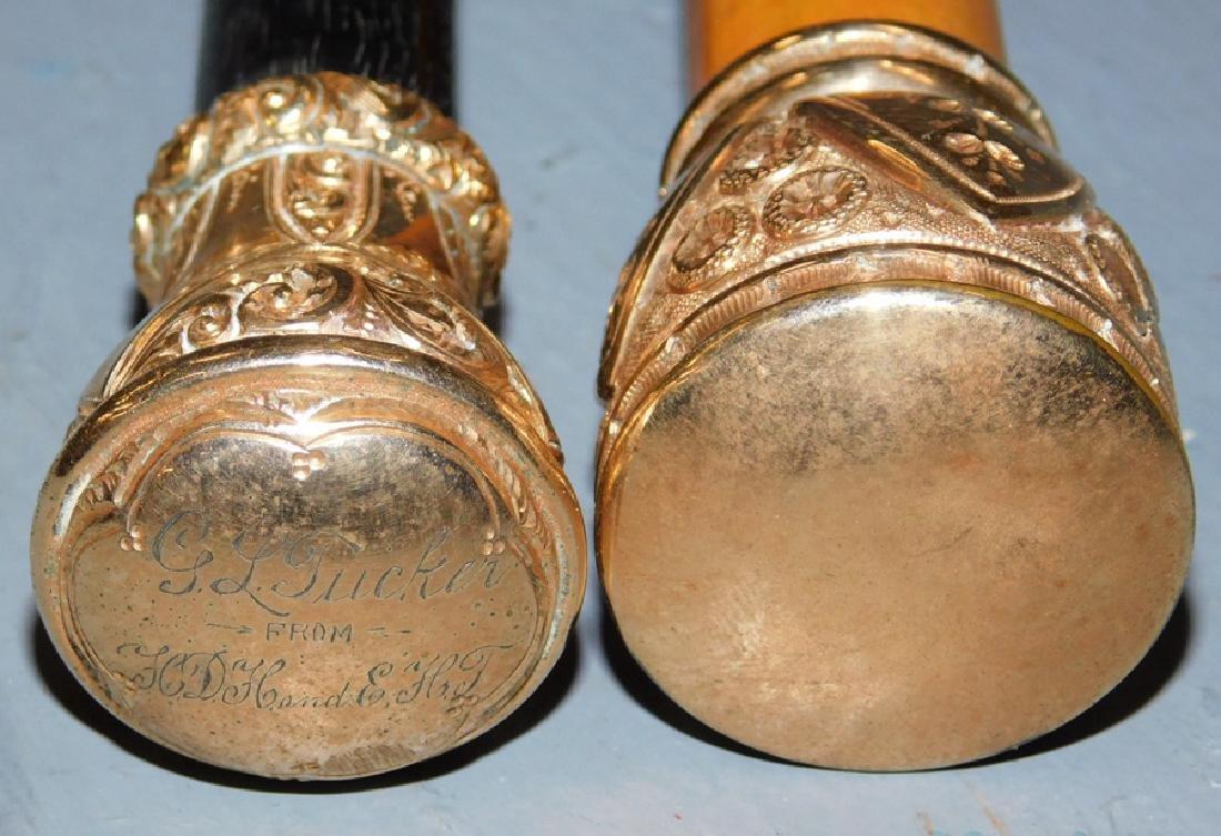 2 Victorian rose gold tipped walking sticks. - 3