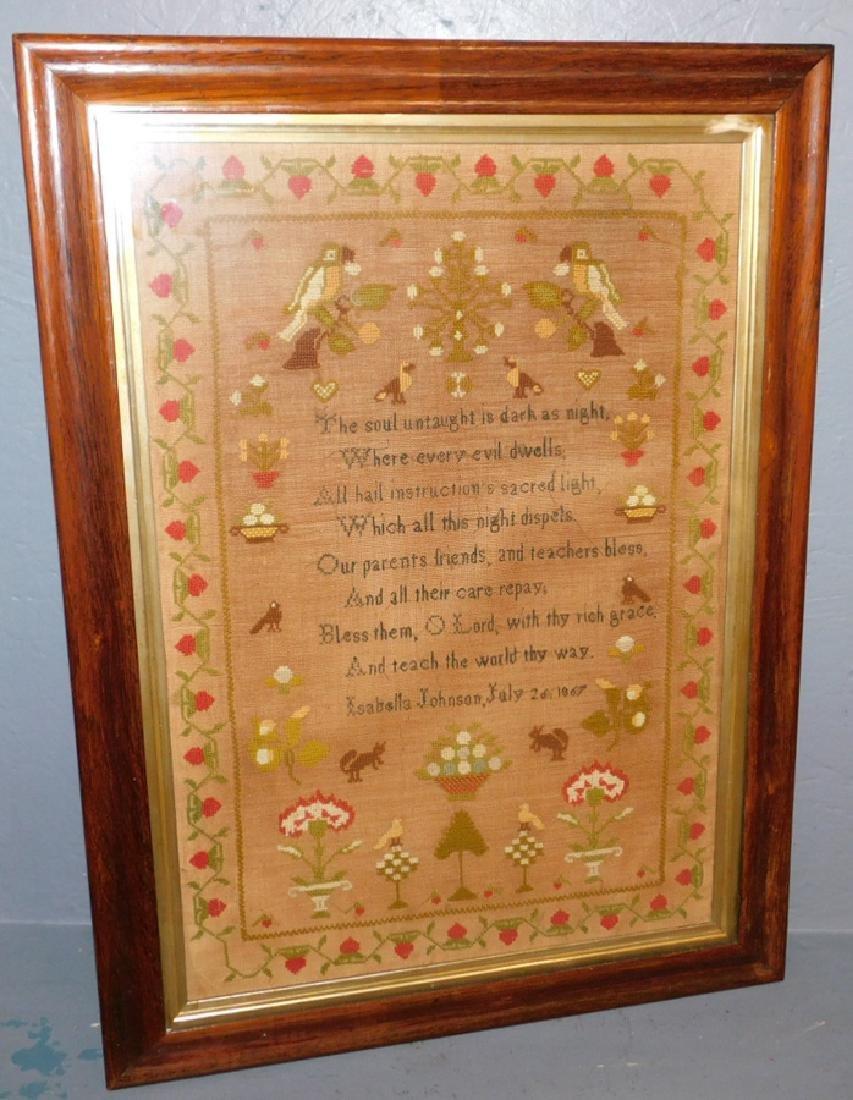 Isabel Johnson 1867 sampler found in Norfolk.