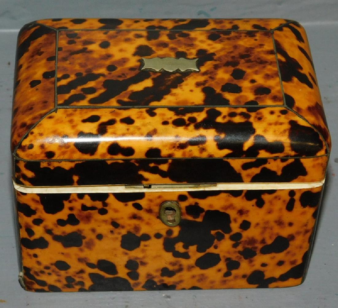 19th century Faux tortoise fitted tea caddy.