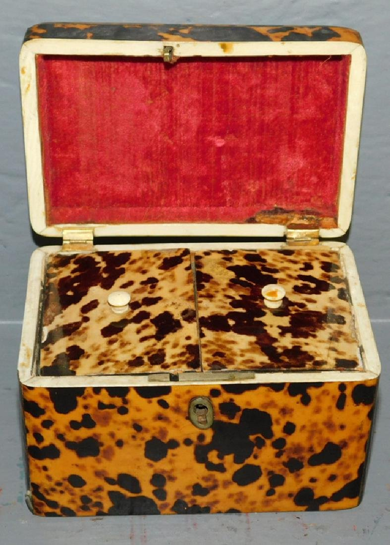19th century Faux tortoise fitted tea caddy. - 2