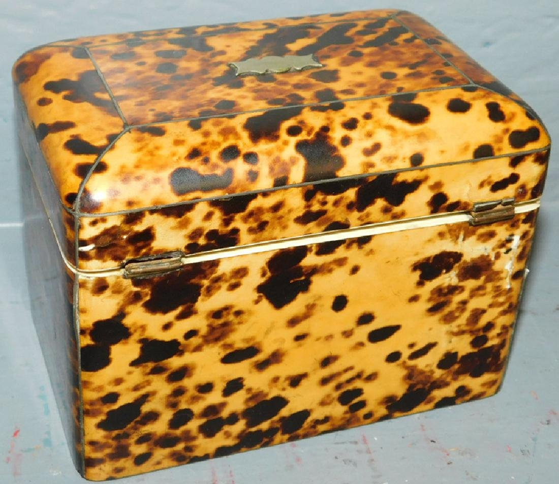 19th century Faux tortoise fitted tea caddy. - 3