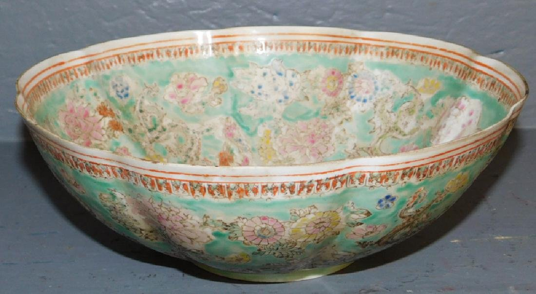 Chinese export eggshell scalloped edge bowl.