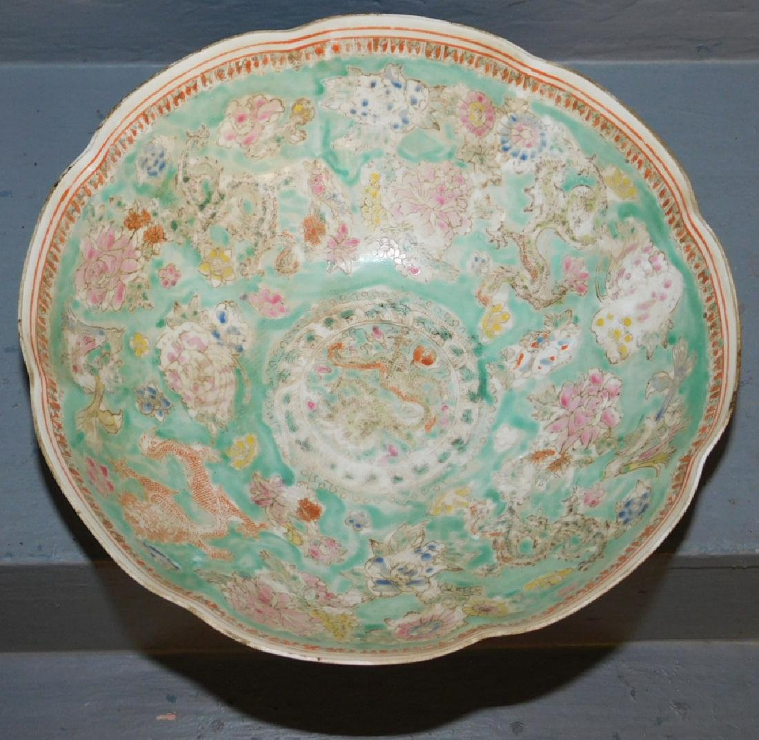 Chinese export eggshell scalloped edge bowl. - 2
