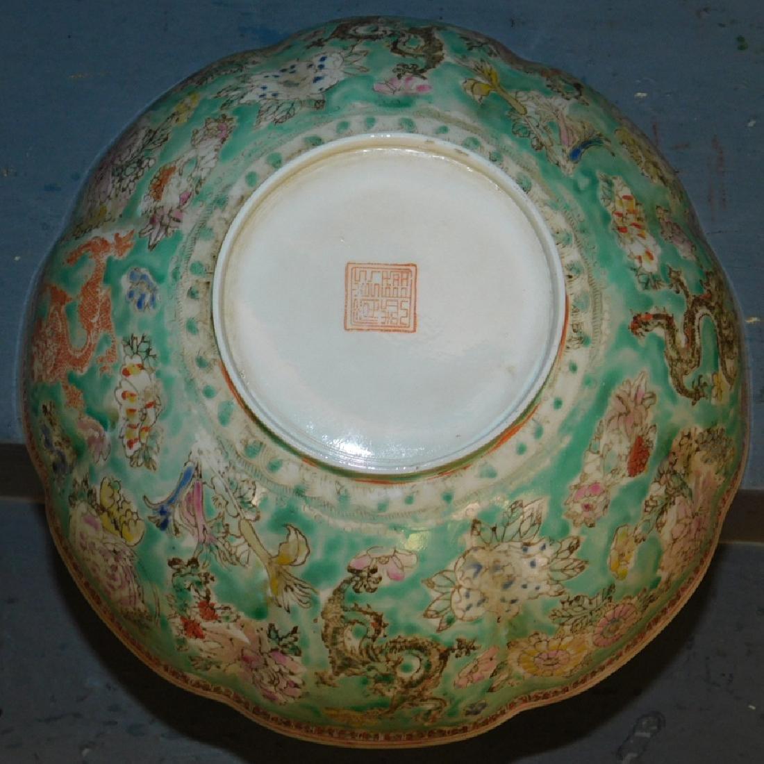 Chinese export eggshell scalloped edge bowl. - 3