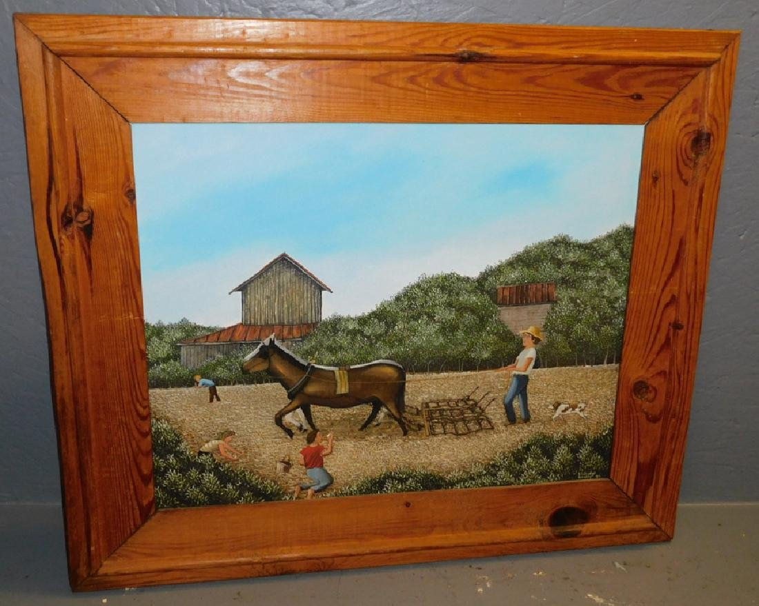 Eldridge Bagley folk art farm scene oil on canvas