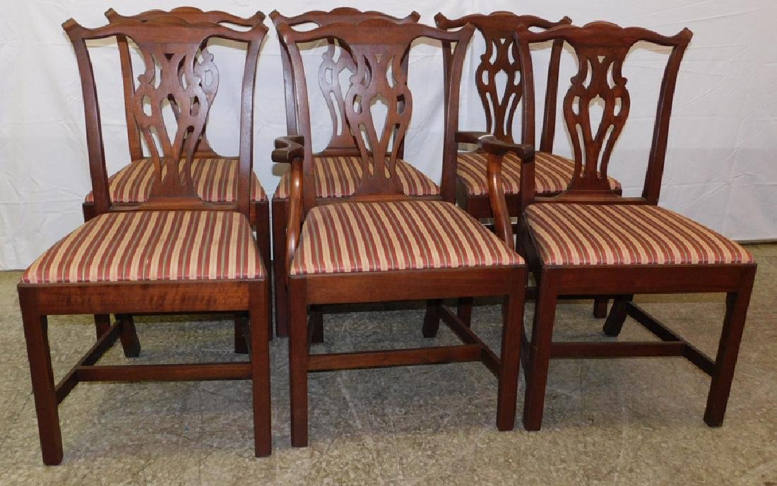 Set of 6 straight leg mahogany Chippendale chairs.