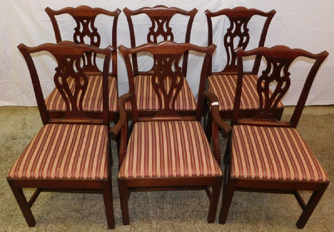 Set of 6 straight leg mahogany Chippendale chairs. - 2