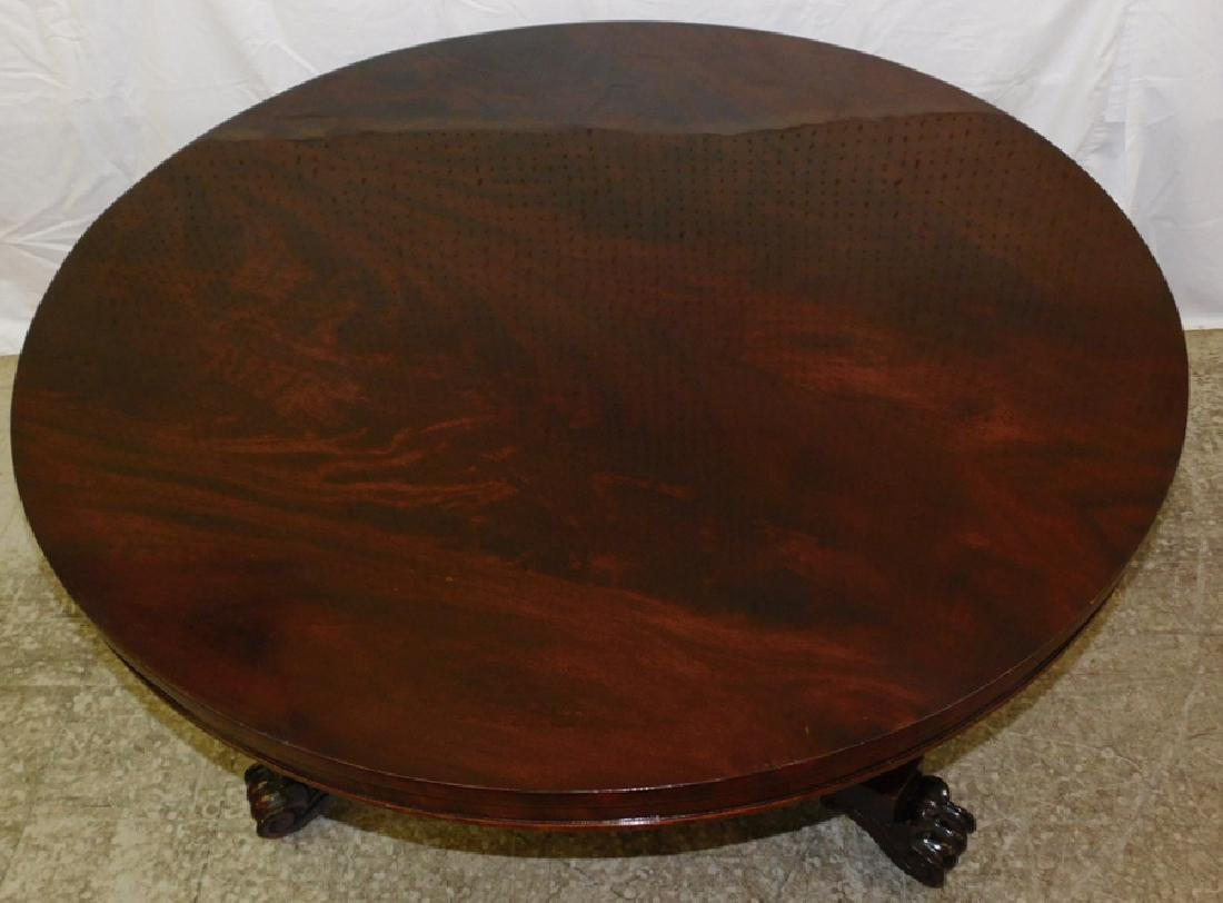 Mahogany claw foot round dinner table. - 2