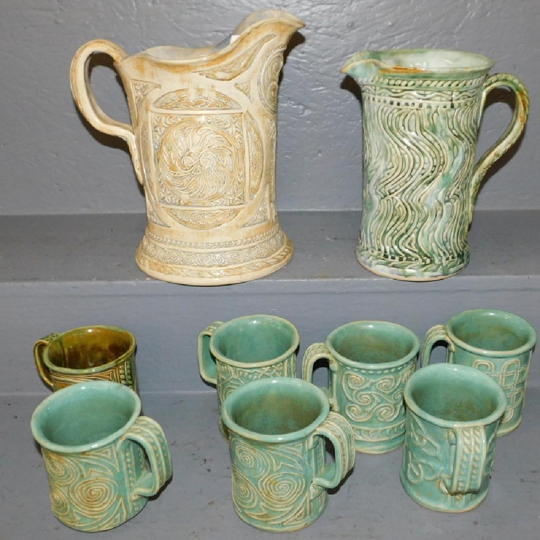 """9 pcs Bethel pottery. To 11"""" tall."""