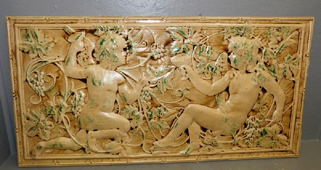 """Classical figural Painted embossed tin panel. 48"""" x 26"""""""