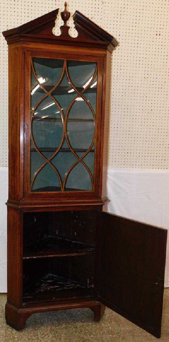 Inlaid mah glass door broken arch corner cupboard. - 2
