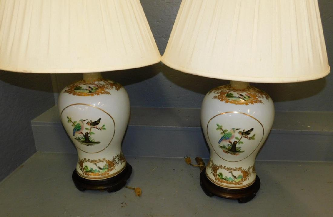 """Pair Maitland Smith vase lamps. 32"""" tall to finial."""