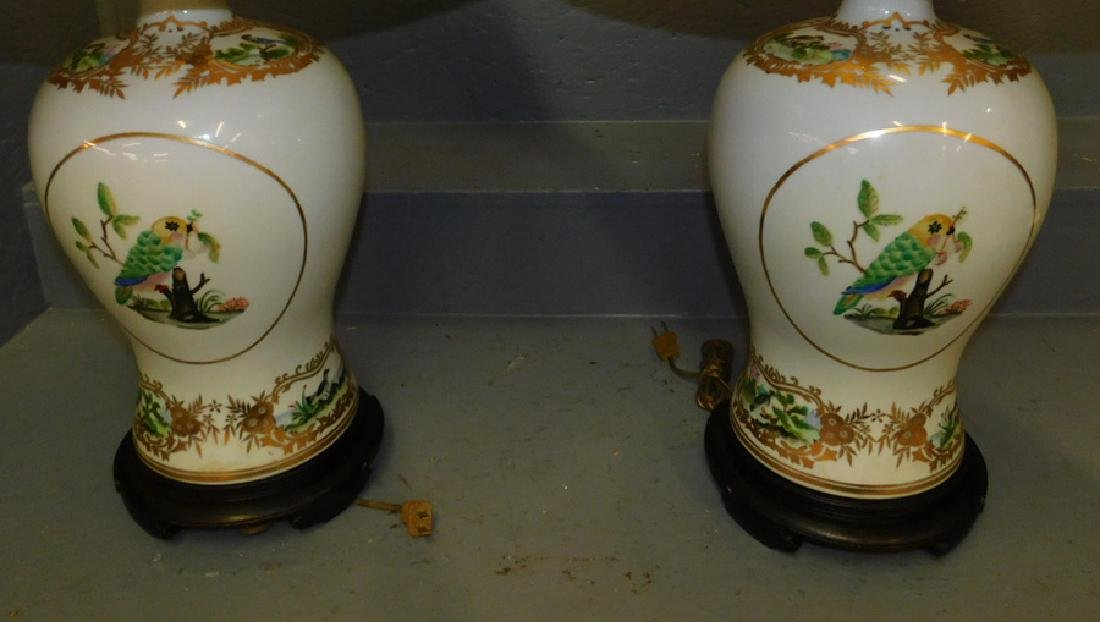 """Pair Maitland Smith vase lamps. 32"""" tall to finial. - 3"""